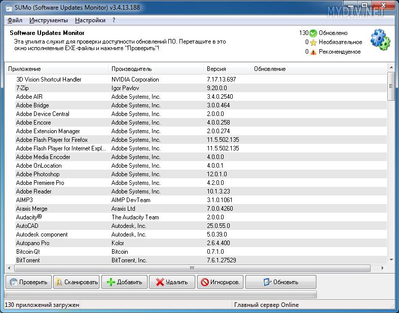 Так выглядит список импортированных программ