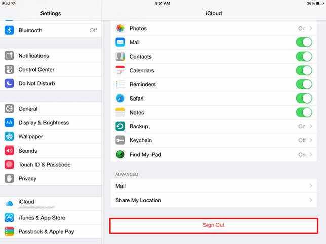 Запуск iCloud на iPad.