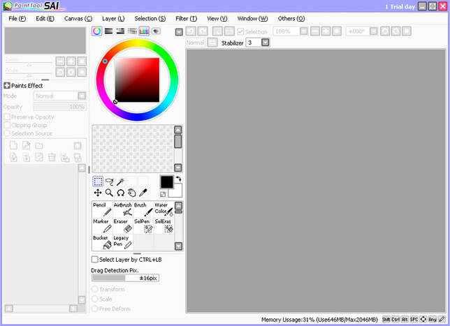 Внешний вид оригинальной версии Paint Tool SAI.