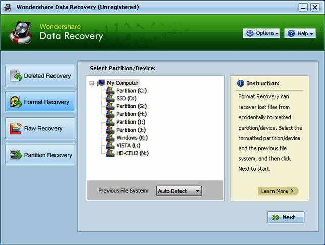 Wondershare Data Recovery 6.6.1.0 на русском + код активации скачать бесплатно